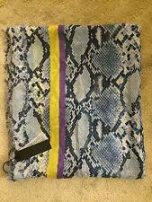 NWT Franco Ferrari Modal/Cashmere Blue/White Snakeskin Print Scarf Retail $425
