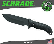 Schrade Fixed Blade Knife Frontier Full Tang 1095 Carbon TPE Handle Pouch SCHF36