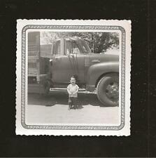 1956 B/W Photo Smiling Young Boy Posed by Heavy Duty 6500 Series Truck GMC Chevy