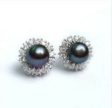 8-9mm Tahitian Black Natural Pearl Earring AAA Grade