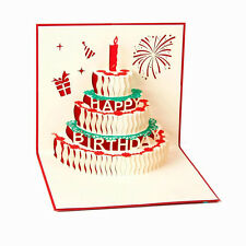 3D Pop Up Greeting Cards Happy Birthday Cake Anniversary Mother's day Thank Gift