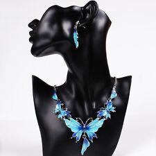 Fashion Enamel Blue Butterfly Women's Collar Bib Necklace Earrings Set Jewlery