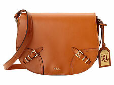 NWT Lauren Ralph Lauren - Saddle Bag Crossbody Handbag / Purse - Leather - Tan