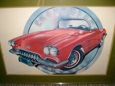 RARE-HAROLD CLEWORTH 1956 CHEVROLET CORVETTE LITHOGRAPH-FRAMED,SIGNED,NUMBERED