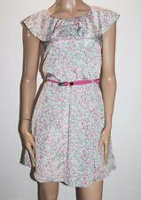 Yumi Brand Green Floral Frill Belted Summer Day Dress Size 10-S BNWT #TA47