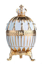 Decorative Faberge Egg Trinket Jewel Box Russian Emperor's Crown 8.5cm turquoise