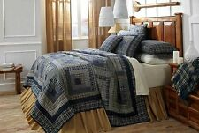 Columbus King Quilt by VHC Brands | Log Cabin Patchwork Pattern in Navy Blue