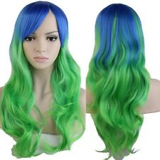 Colorful Women Long Hair Wig Curly Wavy Synthetic Cosplay Halloween Full Wigs la