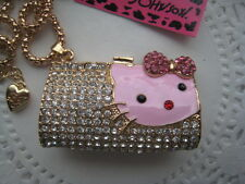 BETSEY JOHNSON PINK CRYSTAL HELLO KITTY BELL TERM BAG NECKLACE  # 66-P