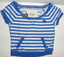 NEW ABERCROMBIE & FITCH WOMEN CROP TOP  LARGE L BLUE STRIPED  AUTH
