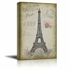 Sketching of the Eifel Tower With a Paris Themed - Canvas Art Home Decor - 16x24