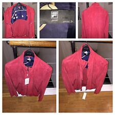 Vintage Fila Biella Italy Tennis Jacket Red Suede  sz 50 IT = sz 40(M/L)US Mens