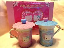 Sanrio Hello Kitty & Daniel Ceramic Mug/Cup Set w/ Silicone Lid (Set of 2)~ NIB!