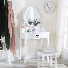 White Dressing Table Makeup Desk with Stool and Round Mirror Bedroom