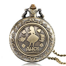 Vintage Women Alice In Wonderland Xmas Gift Necklace Cute Quartz Pocket Watch
