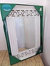 Alco Rectangular Mirror Shabby Chic Cottage Style Soft White Fluted Scrolled New
