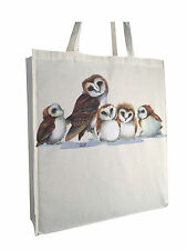 Little Owls Owl Cotton Shopping Bag Tote with Gusset & Long Handles Perfect Gift