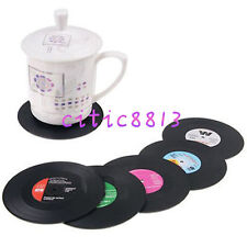 6PCS 4.15'' Vinyl Coaster Groovy Record Cup Drinks Holder Mat Tableware Placemat
