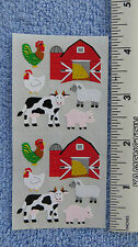Sandylion FARM ANIMALS & BARN Strip of 2 Sqs Stickers RETIRED NO LONGER IN PRINT