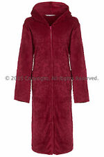 Ladies Hooded Full Zipped Dressing Gown Flannel Fleece Robe Embossed Teal Berry