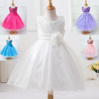 Flower Girl Sequinned Beaded Formal Party Pageant Graduation Princess Dress 1-4Y