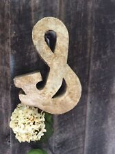 "14""  Unique AND-  & - ""Ampersand""  3D Metal Letter Cream w Tea Stain Finish"