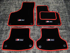 Black/Red SUPER VELOUR Car Mats - Audi A4 Cab (B6+B7 01-08) + S-Line Logos (x4)