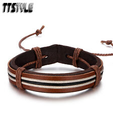 Stylish TTStyle Thick Brown Leather Bracelet Wristband Mens