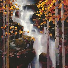 "36""x36"" WATERFALL by MICHAEL O'TOOLE FOREST LANDSCAPE CANVAS"