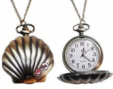 Disney's Little Mermaid Goldtone Sea Shell Pendant Pocket Watch