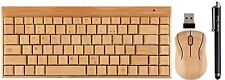 Handcrafted Bamboo Wooden Wireless 2.4GHz Keyboard and Mouse + Touch Pen