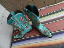 Women's Lucchese M5646 Turquoise Crater Snip Toe Roses Cowboy Boots 9 B EUC