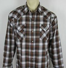 Mens Ely Cattleman Western Pearl snap shirt long sleeve – Plaid – Size XL