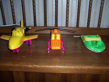 Lot Of 3 American Plastic Toys #87040 Airplane #0870 Helicopter & Ski Boat