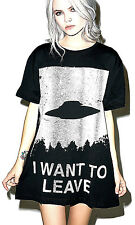 NEW NWT I WANT TO LEAVE UFO BLACK & WHITE TEE TOP TSHIRT BY DISTURBIA XL - XXL