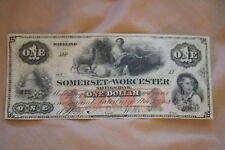 Estate Find 1862 $1 Somerset & Worcester Savings Bank Maryland Currency Note