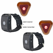2 Set Wireless Watch Call Receiver Pager System Button Transmitter Vibrate/Buzze