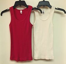 LOT OF 2 RED /OFF WHITE AMERICAN APPAREL COTTON RIBBED RACERBACK TANK TOPS XS