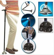 Handle Folding Built-in 6LED Lights Walking Cane Adjustable Hiking Walking Stick