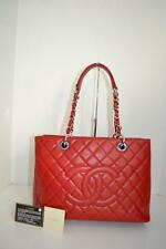 "NWOB Chanel Red Quilted Caviar Leather ""Grand Shopper"" Tote/Shoulder Bag"