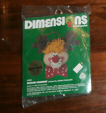 """Reindeer Ornament Dimensions Needlepoint 5"""" Unopened Christmas"""