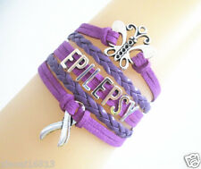 HOT Butterfly EPILEPSY Cancer Ribbon Charms Suede Leather Braided Bracelet