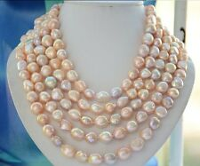 natural12-13mm south sea multicolor  gold pink  pearl necklace 38inch 14k