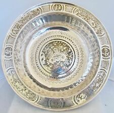 "BIG 14.7"" Antique Chinese Silver on Brass Centerpiece Bowl with Flowers & Birds"