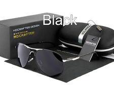 HDCRAFTER Classical Glasses Men Pilot Sunglasses Italy Design Polarized (BLACK)