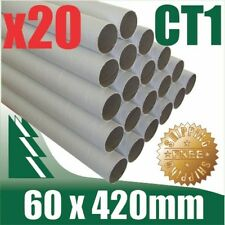 20 x Cardboard Mailing Tubes 60 x 1.5 x 420mm includes end caps BULK BUY