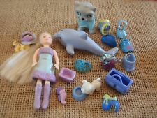 "Polly Pocket Lot ""Colors of the Rainbow"" Doll Blue Pets Cat Dog Accessory L39"