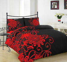 03Pcs Duvet Quilt Cover with Pillow Case Bedding Set Size King HELEN RED BLACK