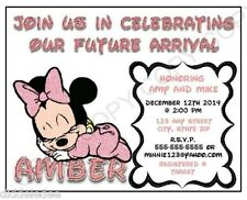 Baby Minnie Mouse Baby Shower Invitations Personalize 12pk  ANY CHANGES OK