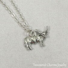 Silver Longhorn Bull Necklace - Cow Cattle Farm Rancher Charm Pendant NEW